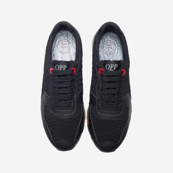 Lace-Up Suede Sneakers Black - Top Sneakers - OPP Official Store (OPP France)