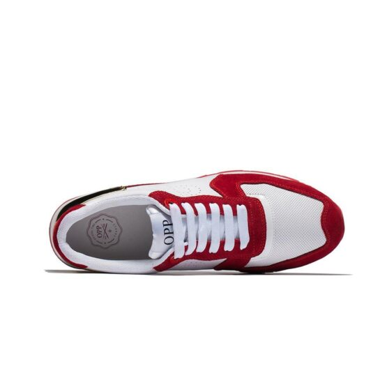 Lace-Up Suede Sneakers Red - Top Sneakers - OPP Official Store (OPP France)